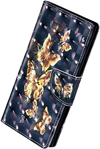 Herbests Kompatibel mit Samsung Galaxy J4 2018 Hülle Klapphülle Leder Flip Schutzhülle Wallet Handyhülle Bunt Bling Glänzend Glitzer Muster Brieftasche Handytasche Case,Cute Schmetterling