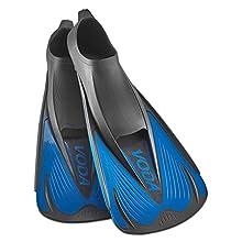 Phantom Aquatics Voda Full Foot Snorkeling Swim Fin, Black/Blue, US (7-8)/EU (40-41)