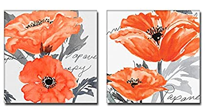 Amazon Com 2 Pieces Orange And Gray Wall Decor Poppy Flower Canvas