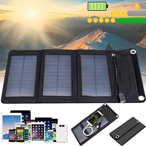 SAFETYON Foldable Solar Charger Foldable Solar Charger 5W for cell phones, iphone, iPad, iPods and Android USB Charging devices with High Efficiency SunPower foldable Solar Panel Charger