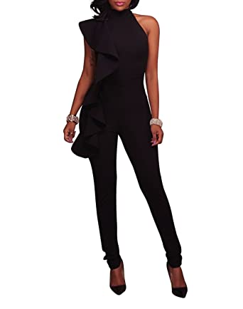 0f9eb6696f3 Amazon.com  Solid Ruffle Strapless Jumpsuit -Milliwin Women Sexy High Waist  Clubwear Long Pants Rompers  Clothing