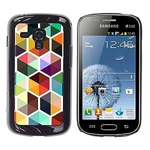 TopCaseStore / la caja del caucho duro de la cubierta de protección de la piel - Bee Colorful Cube Repetitive - Samsung Galaxy S Duos S7562