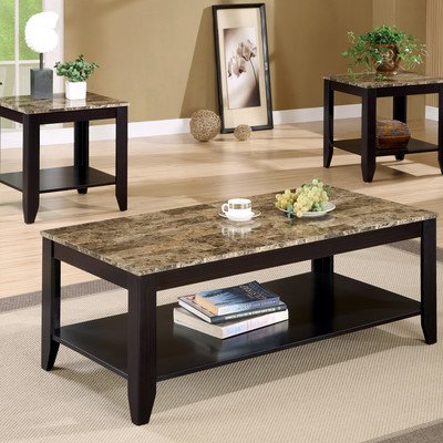 Coaster Furniture 3 Piece Coffee Table Set with Faux Marble ()