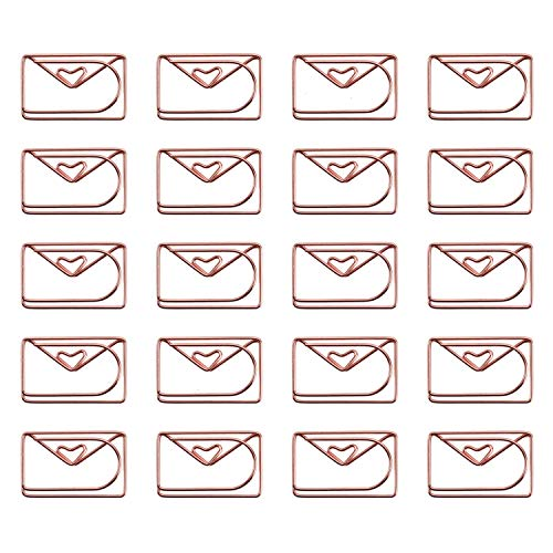 JETEHO 20Pcs Cute Envelope Shaped Paper Clips Metal Note Clips for Bookmark Office School Notebook Agenda Pad -