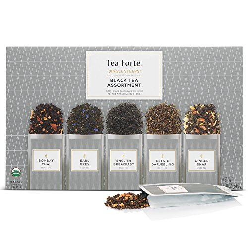 Tea Forté SINGLE STEEPS Organic Black Tea Assortment, Loose Leaf Tea Sampler Assorted Tea Variety Pack, 15 Single Serve Pouches