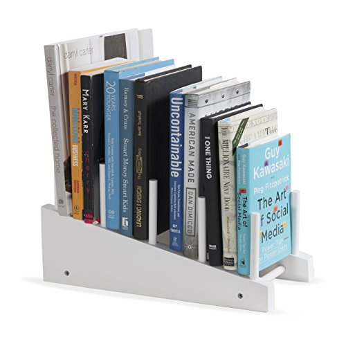 brightmaison Free-Standing Wooden Book Holder 4-Slot Magazine Organizer Rack (White)