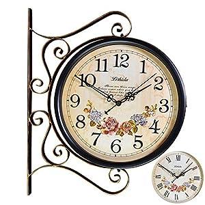 Wall clock Reloj Reloj de Pared de Doble Cara Europeo (46 * 37cm) la Cara del Reloj es de 30 cm de diámetro Carcasa de Metal Movimiento de Barrido silencioso 2 Pilas AA (no Incluidas) 15