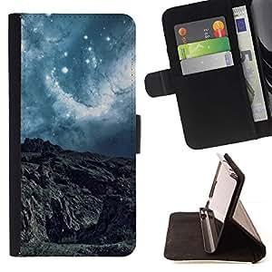 Momo Phone Case / Flip Funda de Cuero Case Cover - Planeta extranjero turquesa Estrellas del cielo Nubes Cliff View - Sony Xperia Z5 Compact Z5 Mini (Not for Normal Z5)