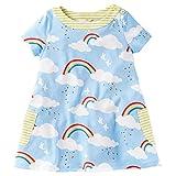 Little Girls Cotton Dress Short Sleeves Casual Summer Striped Printed Shirt