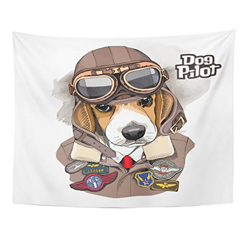trait of The Beagle in Aviator Helmet and Jacket Home Decor Wall Hanging for Living Room Bedroom Dorm 60x80 Inches ()