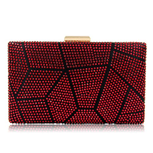 (Yekajlin Women Clutches Crystal Evening Bags Clutch Purse Party Wedding Handbags (Red), Small)