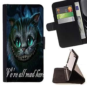 King Art - Premium-PU-Leder-Prima caja de la PU billetera de cuero con ranuras para tarjetas, efectivo Compartimiento desmontable y correa para la mu?eca FOR Apple Iphone 5C- We 're All Mad Here Cat