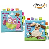 GFun Fabric Baby Cloth Book Non-Toxic Activity Crinkle Soft Book Early Education Toys for Toddler Infant and Kids - Best Gift for Baby Shower - Owl and Puppy