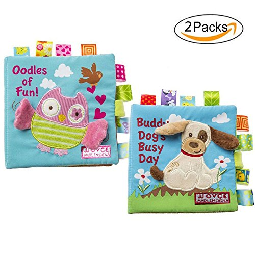 GFun Fabric Baby Cloth Book Non-Toxic Activity Crinkle Soft Book Early Education Toys for Toddler Infant and Kids - Best Gift for Baby Shower - Owl and Puppy by GFun