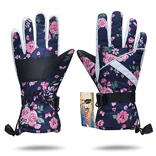 ICOLOR Snowboard Gloves Winter Warm Ski Golve for Outdoor Sports Skiing Sledding Warm Windproof Bicycle Cycling Snow Snowboarding Snowmobile Golve (Pink Flower)