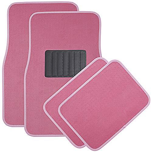 OxGord Universal Fit Front/Rear 4-Piece Full Set Heavy Duty Economy Carpet Floor Mat - (Pink) ()