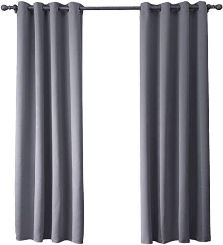 ABREEZE Darkening Thermal Insulated Blackout Grommet Window Curtain for Living Room,1 Panel 79 Wide x 79 inch Long,Grey