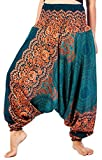 Lofbaz Women's Rose 1 Smocked Waist 2 in 1 Harem Jumpsuit Pants Teal Green M