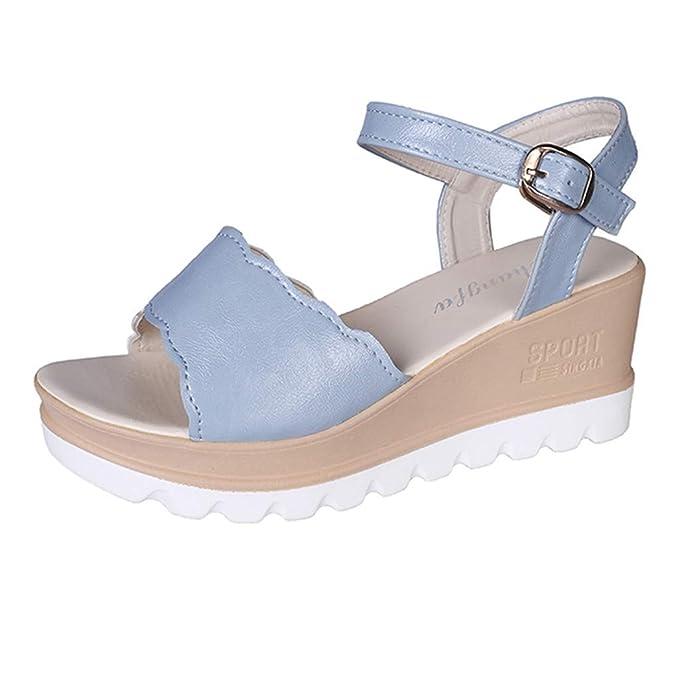Darringls Sandalias de Cuña para Mujer Plataforma Verano 2018 Chanclas de Cuña Zapatos de Tacón de Boca de Pescado Mujer Mocasines Terciopelo Fiesta: ...