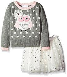Bonnie Jean Little Girls' Appliqued Intarsia Sweater and Ballerina Skirt Set, Grey, 6X