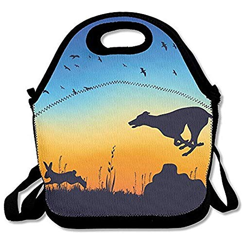 Whippet Chasing Rabbit Lunch Bag Adjustable (Whippet Tote Bag)