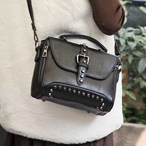 Mujeres Bolsos Fashional Nuevas Otomoll Bolso Vintage Bolsas Crossbody Messenger Pequeño Black Remache wxZff8Sn
