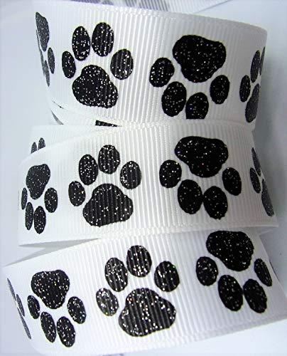 Grosgrain Ribbon - Black Glitter Paw Print - 7/8