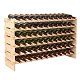ZENY Wine Rack 72 Bottles Holder Stackable Storage 6 Tier Solid Wood Display Shelves (#1)