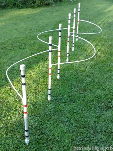 Agility Weave Poles (Dog Agility Equipment weave poles (set of 6) with guide wires by DogAgilityShop)