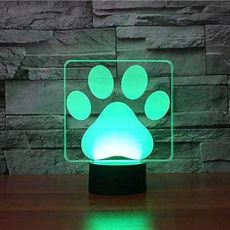 de LED Lámpara Noche Dog Luz 3D mesa 3D Modelado de Paw wOX08nPk