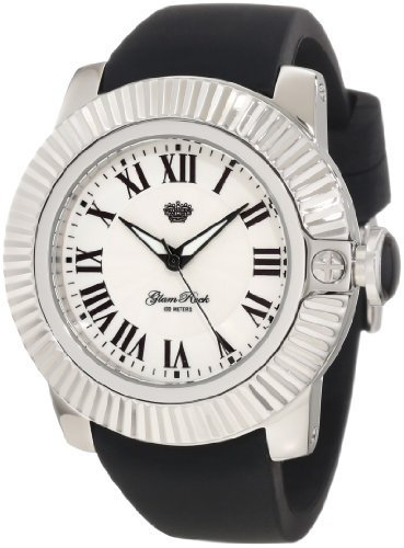 Glam Rock 0.96.2769 Unisex Quartz Watch with White Dial Analogue Display and Black Silicone Strap GR32009