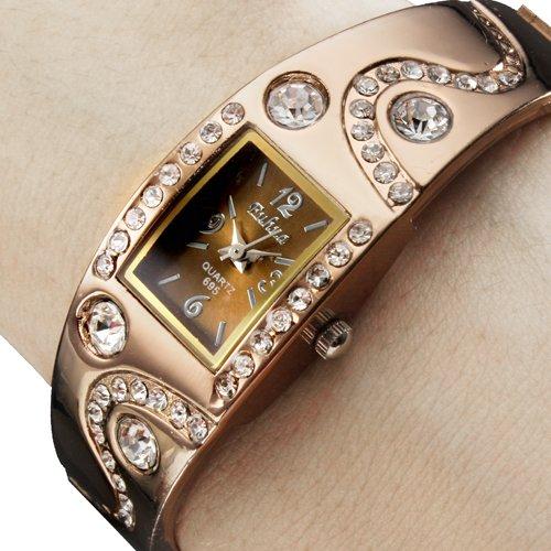 brazalete de acero decoración del diamante del reloj de las mujeres
