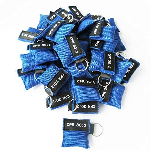 Elysaid 100Pcs/Pack CPR MASK WITH KEYCHAIN CPR FACE SHIELD AED BLUE POUCH CPR 30:2 IN BACK BAG by ELYSAID