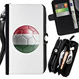 STPlus Hungary Hungarian Soccer Football Ball Flag Wallet Card Holder with Strap and Zipper Cover Case for Apple iPhone 7 Plus / iPhone 8 Plus