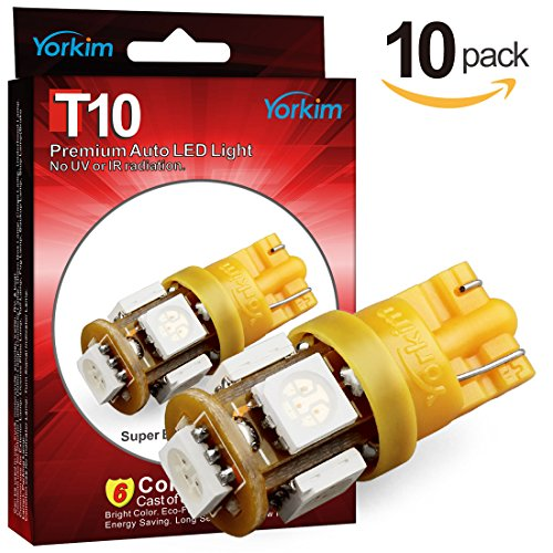 Yorkim 194 LED Bulbs Amber 6000k Super Bright Newest 5th Generation Universal Fit Pack of 10, Amber T10 LED Bulbs, 168 LED Bulb Amber, 2825 LED Bulb, W5W LED Bulb, 194 Amber LED Interior Light for Car (Amber Wedge Base)