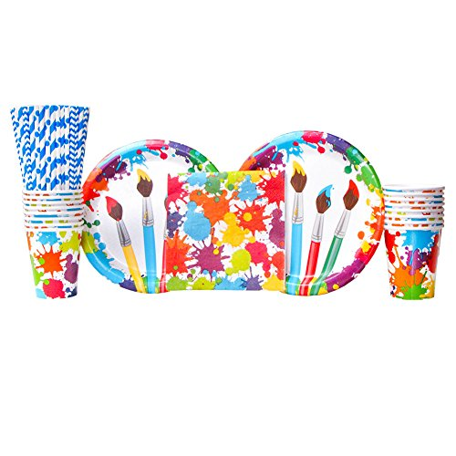 Art Party Supplies Pack for 16 Guests | Paper Straws, 16 Dinner Plates, 16 Luncheon Napkins, and 16 Paper Cups | Bold Kids Art Supplies Theme For A Creative Art Party | Fun Paint Splatter Design