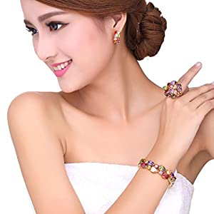 Bamoer Mona Lisa Mutlicolor Swarovski Elements Crystal Fashion Bridal Jewelry Sets necklace and earrings and bracelet and Ring for Women Girls Teen