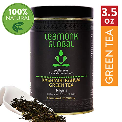 Teamonk Nilgiris Kashmiri Kahwa Green Tea for Weight Loss, 3.5oz (50 Cups) | Natural Ingredients: Saffron, Ginger, Cardamom, Clove | 100% Natural Loose Leaf Tea for Weight Loss | No Additives