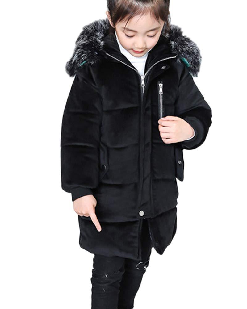LaoZanA Giubbotto Parka Bambina Invernale Cappotto Elegante Giacca Pelliccia Sintetica Cappuccio
