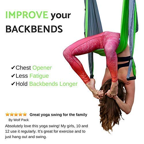 Aerial Yoga Swing - Gym Strength Antigravity Yoga Hammock - Inversion Trapeze Sling Equipment with Two Extender Hanging Straps - Blue Pink Grey Swings & Beginner Instructions (Green and Platinum) by Yogatail (Image #5)