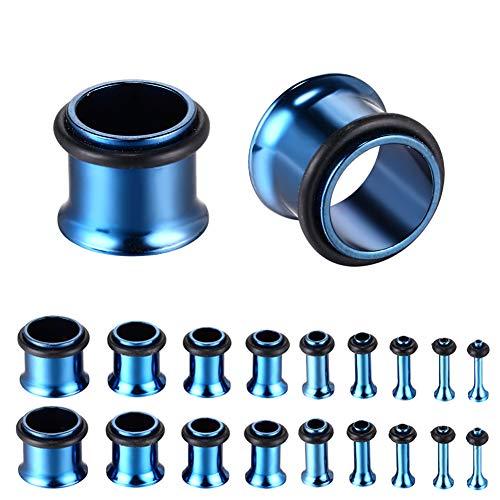 Flared Single (Xpircn 14G-00G Stainless Steel Single Flared Ear Gauges Tunnels Plugs 14G-00G Expander Ear Piercing Jewelry 18PCS)