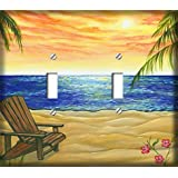 Beach Retreat Double Toggle Decorative Switchplate Cover