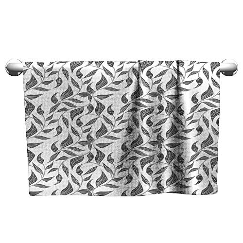 (xixiBO Towel W28 x L12 Leaves,Abstract Drawing Style Leaves Ornamental Vintage Revival Flourishes,Grey Charcoal Grey White Machine wash Towel )