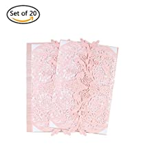 Decdeal 20pcs Invitation Holders & Wedding Invitation Card Set Pearl Paper Invitation Cards