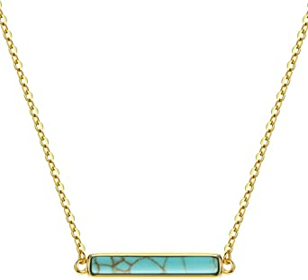 Long Turquoise Necklace ~ Sterling Silver 925 or Gold Filled ~ Jewelry ~ Gift For Her ~ Minimalist~ Handmade~ Thin Chain~ Delicate ~Layered