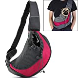 Pet Sling Carrier, Small Dog Cat Sling Bag for Travel, Front Pack Carry Tote with Breathable Mesh & Safety Closure (S, Rose Red)