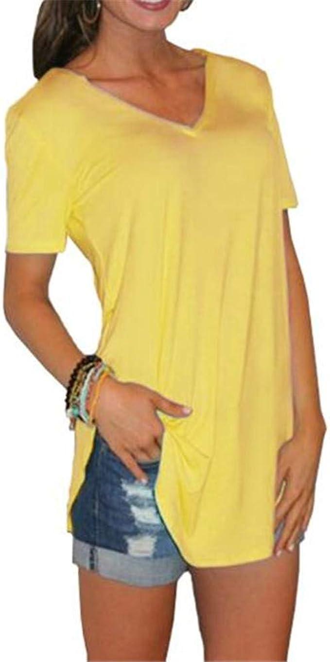 Camisa De Mujer De Gran TamañO con Cuello En V Suelta Color SóLido Camiseta De Manga Corta Casual: Amazon.es: Ropa y accesorios