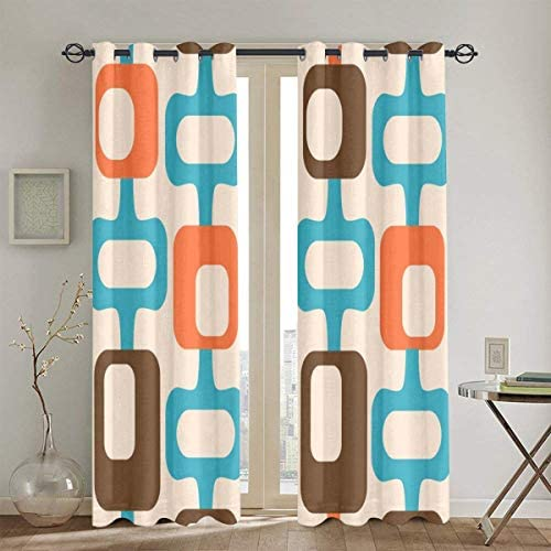okstore1988 Punch Curtains,Retro Mid Century Modern Abstract Pattern 921 Orange Chartreuse Turquoise Room Bedroom Window Drapes 2 Panel Set,104 W X 84 L Inches
