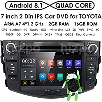Android 8.1 Car GPS Unit Radio DVD Player for Toyota RAV4 2006 2007 2008 2009 2010 2011 2012 Touch Screen GPS iPod DVD Navigation Radio Bluetooth Hands