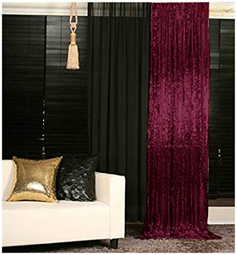 Sequin Curtains 2 Panels Burgundy 2FTx8FT Sequin Photo Backdrop Burgundy Sequin Backdrop Curtain Pack of 2~190222E